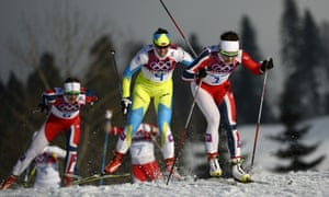 From left to right: Silver medalist Norway's Ingvild Flugstad Oestberg, bronze medalist Slovenia's Vesna Fabjan and gold medalist Norway's Maiken Caspersen Falla in the Women's Cross-Country Skiing Individual Sprint Free Final