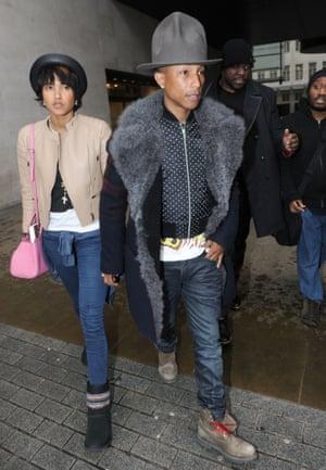 Pharrell Williams at BBC Radio 1 studios, London, Britain - 05 Feb 2014