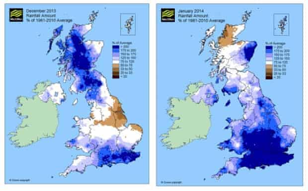 Met Office record rainfall graphs 2014