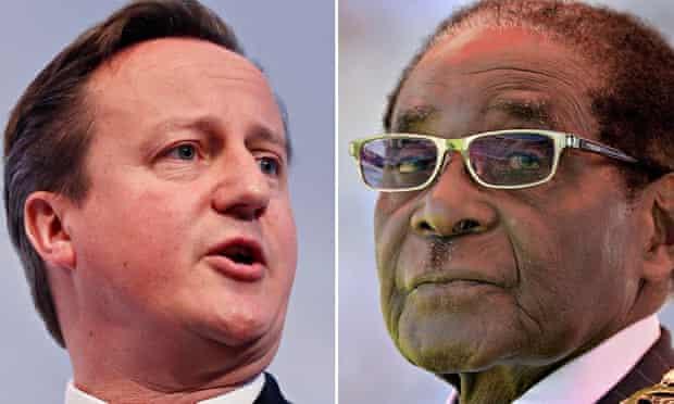 Composite:  Prime Minister David Cameron and Robert Mugabe