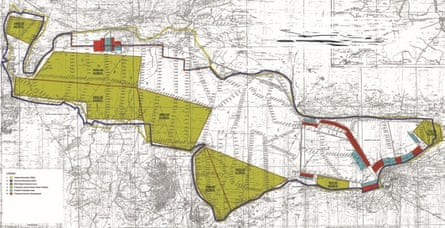 A map of the proposed boundaries for installation of a nearly 20,000-acre solar generating facility near Sambhar Lake in India's Rajasthan state, taken from plans submitted to India's government