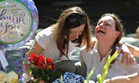 Fans in LA grieve outside Michael Jackson's home after his 2009 death from a drug overdose at 50
