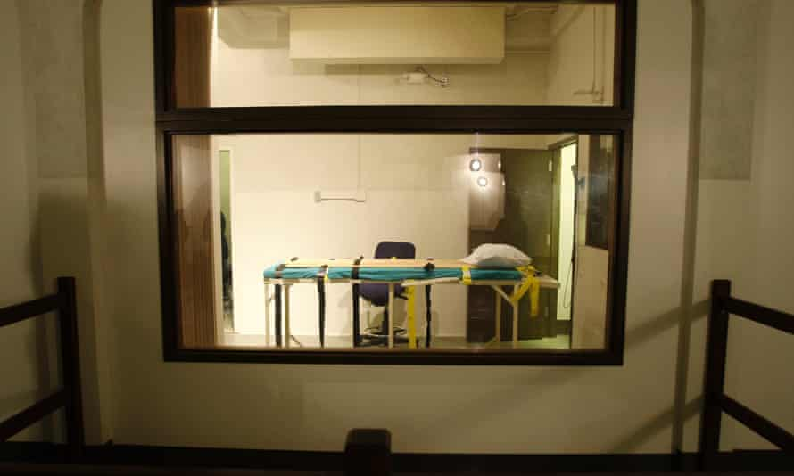 The execution chamber at the Washington State Penitentiary is shown as viewed from the witness gallery, in Walla Walla.