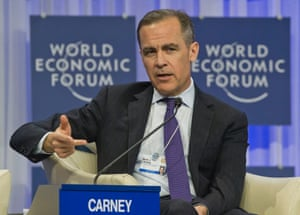 Governor of the Bank England, Mark J. Carney, gestures as he speaks during a session at the World Economic Forum in Davos, Switzerland.