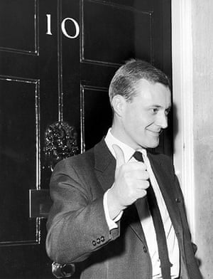 Tony Benn in pictures: Labour MP Tony Benn gives a thumbs-up sign at 10 Downing Street, where Prim