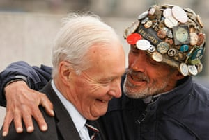 Tony Benn in pictures: Tony Benn laughs with protester Brian Haw during an Anti-War protest in Lon