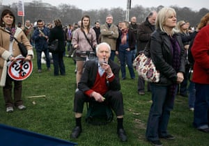 Tony Benn in pictures: At a rally in Hyde Park, during a protest organised by the TUC, called The