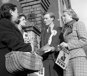 Tony Benn in pictures: Labour Party candidate Tony Benn out canvassing with his wife (left) in Bri