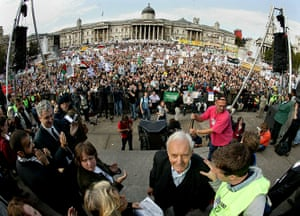 Tony Benn in pictures: Veteran politician Tony Benn is applauded after his speech to the crowd in