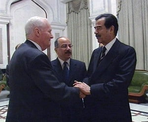 Tony Benn in pictures: Tony Benn is greeted by the Iraqi President Saddam Hussein prior to an inte