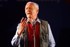 Tony Benn in pictures: Giving a speech in the Leftfield tent atGlastonbury Festival in 2008