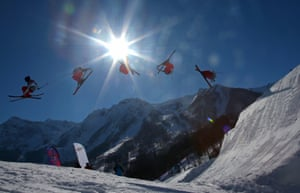 An athlete gets airborne during training for Ski Slopestyle at the Extreme Park at Rosa Khutor Mountain.