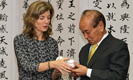 Caroline Kennedy  and Okinawa governor Hirokazu Nakaima exchange signed baseballs