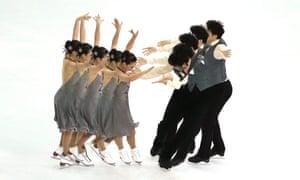 Huang Xintong and Zheng Xun of China performing in the Ice Dance Short Programme.