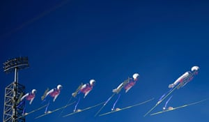 Ski-jumper Daiki Ito from Japan soars through the air.