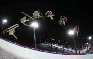 Danny Davis of the United States competes in the snowboard men's halfpipe finals.