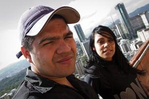 Torre David Caracas: Jorge Luis Cadena  with his wife Yecenia Polanco. Flats in the skyscraper a