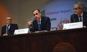 Bank of England governor Mark Carney (C) leads the bank's quarterly inflation report news conference at the Bank of England in London February 12, 2014.