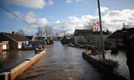 Flooded properties in Moorland on the Somerset Levels