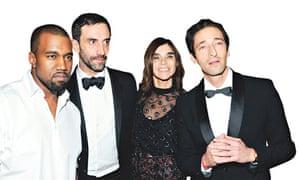 Kanye West, Riccardo Tisci, Carine Restoin-Roitfeld and Adrien Brody