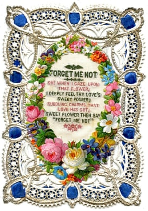 Sometimes a scented sachet would be sent rather than a paper Valentine. This one with silver lace and flowers and a woven silk message in the centre dates from the 1870s