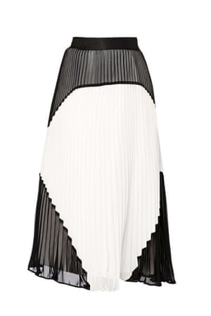 Pleated skirts: Black and white pleated skirt