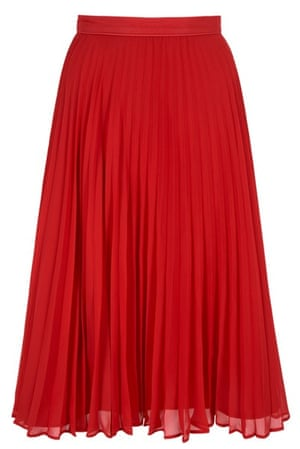 Pleated skirts: Red pleated skirt