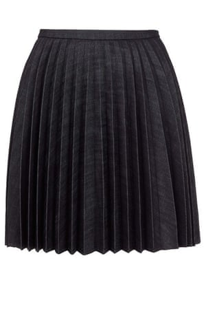 Pleated skirts: Denim pleated skirt