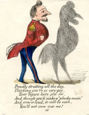 Valentines were often used to take cocky young men down a peg or two - as can be seen in this card showing a strutting soldier