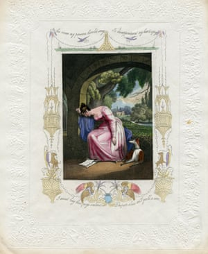 """Dating from 1828, nine years before Queen Victoria took to the throne, this Valentine is one of a set of 14 known as """"The Despondent Lovers"""" designed by Addenbrooke, a commercial card manufacturing firm"""