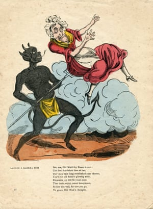 """This cheap Valentine printed by the prolific publishers S Marks & Sons, of London, shows the devil using his for on an """"old maid"""", and dates from the 1840s or 50s"""