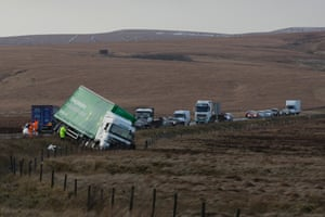 Winds gusting at speeds approaching 100mph caused this lorry to be blown off the road on the A628, Woodhead Pass, near Preston.