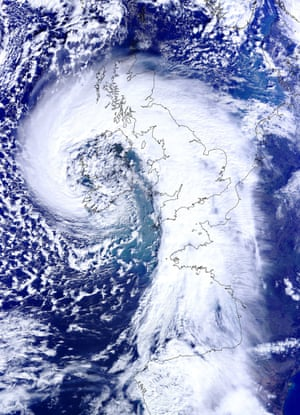 A satellite image issued by the University of Dundee showing the scale of the storm that is currently threatening the UK