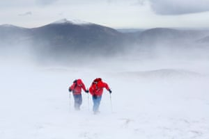 Avalanche forecasters in Coire Na Ciste in the Cairngorm Mountains go to work in virtual blizzard conditions. Mark Diggins and Catherine Grindrod endure 60 mile per hour winds gathering avalanche data and observations for their daily forecast.