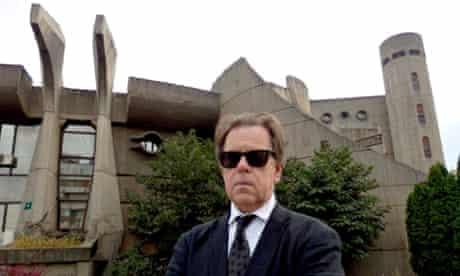 Jonathan Meades in front of Skopje university