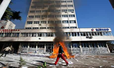 Government building on fire in Tuzla, Bosnia