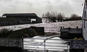 Flooding on the Somerset Levels.