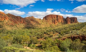 Rugged red cliffs at Trephina Gorge, Northern Territory, Australia.