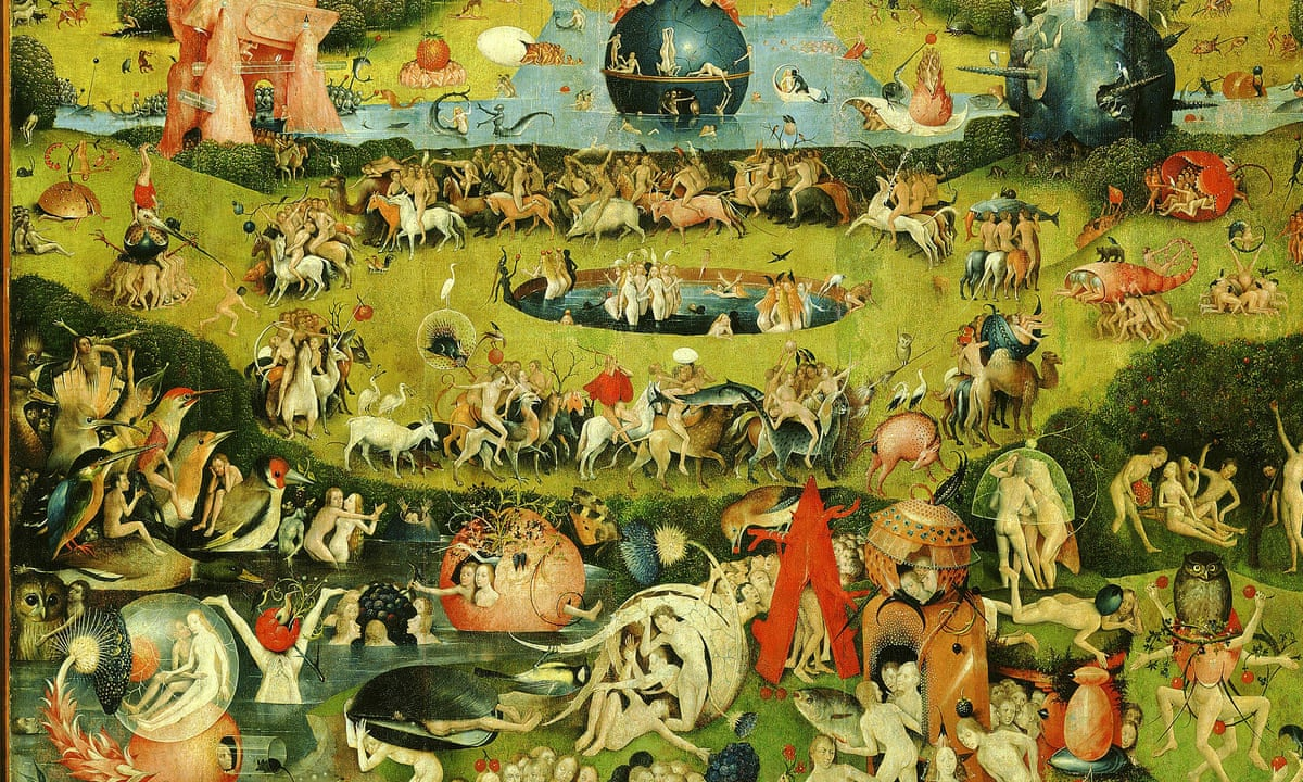 Hidden sheet music in hieronymus bosch triptych recorded by blogger music the guardian for The garden of earthly delights