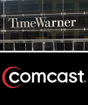 A composite image showing undated  Time Warner handout image (top) and a undated Comcast image of Comcast company logo (bottom), 13 February 2014.