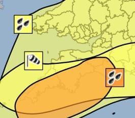 Amber warning for heavy rain