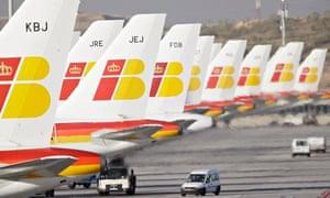 Iberia planes at Barajas airport, Madrid on 12/11/09