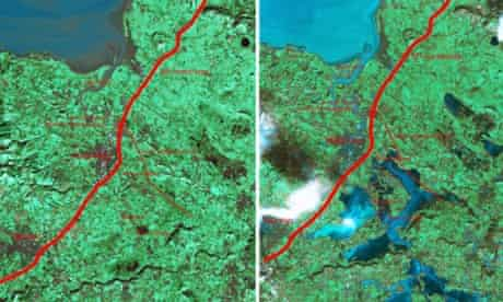 Satellite photos of the River Parrett on the Somerset Levels taken before the recent flooding and on 8 February.