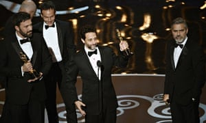 Grant Heslov with Affleck and Clooney at the 2013 Oscars