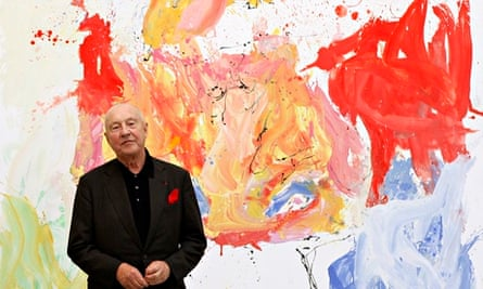Georg Baselitz with one of his self-portraits at the Gagosian Gallery in London.