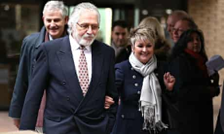 Dave Lee Travis leaves Southwark crown court with his wife, Marianne