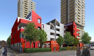 Home-office? … The plan for the Leather Gardens estate in Newham will see 36 two-bed units clad in grey and red paneling.