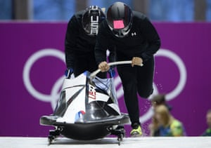US-1, two-woman bobsleigh steered by Elana Meyers, during a training session at the Sanki Sliding Center during the Sochi Winter Olympics.