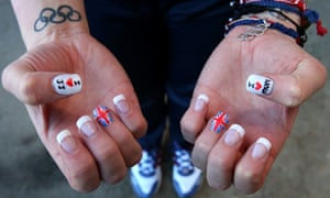 The nails of Great Britain's women's bobsleigh driver Paula Walker after a training run at the 2014 Sochi Olympic Games.