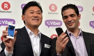 Rakuten president Hiroshi Mikitani and Viber CEO Talmon Marco